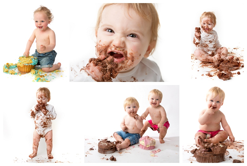 Babies celebrating their first birthday's with one of our cake smash sessions